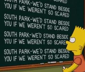 I'm looking at YOU, Simpsons! - The Simpsons' reaction to South Park's battle to air a controversial episode featuring the Muslim prophet Muhammed.